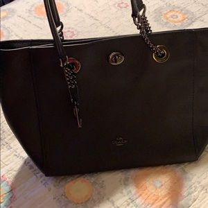 Navy blue Coach chain tote